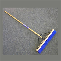 "24"" BLUE POLY BROOM WITH WOOD HANDLE"